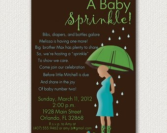 Baby Sprinkle Invitations- Rain Themed