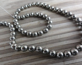 6mm Pyrite Beads - Round Smooth Stabilized - Half or Full Strand - Fools Gold