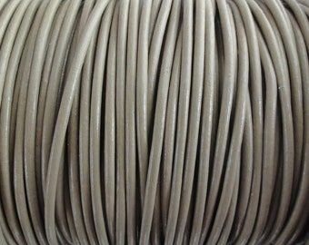 2 Yard Increments - 2mm Taupe Beige Genuine Leather Cord Beach
