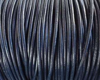 2 Yards 1.5mm Navy Blue Leather Cord