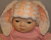 Crocheted Baby Photo prop Soft Peach Bunny Beanie and Tush Cover