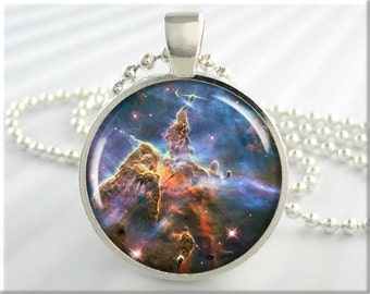 Carina Nebula Pendant, Hubble Picture Pendant, The Carina Nebula Necklace, Resin Charm, Round Silver, Space Gift (500RS)
