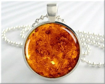 Planet Venus Pendant, Planet Necklace, Resin Space Jewelry, Space Gift, Venus Jewelry, Round Silver (548RS)