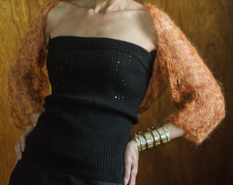 Hand Knit Shrug Hanf Knit Scarf Bolero Knit  with Hanf Crocheted Edging Shades of Sunset
