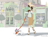 Fashion Illustration, Paris, Parisian, Laduree, Landscape, Elegant Illustration, Girl and her French Bulldog, Trip to Laduree Art Print