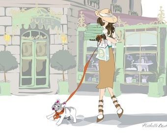 Fashion Illustration, Paris, Parisian, Laduree, Landscape, Elegant Illustration, Girl and her French Bulldog, Trip to Laduree Art Print