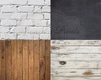 "SAMPLE PACK / FOUR 12"" x 12"" Mix and Match Wood Floordrops / Vinyl Photography Backdrops for Product Photos"
