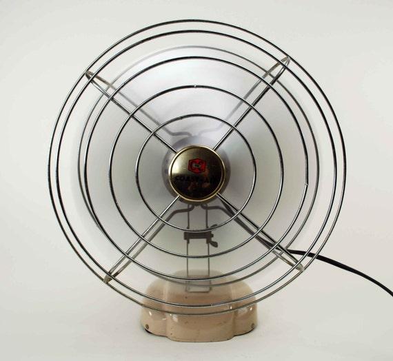 Vintage Industrial Metal Fan // Working Coast-Air Fan // Beige Art Deco Base & Spider Cage Frame