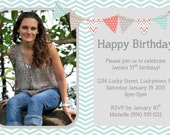 Blue Chevron Birthday Invitation Template 4x6