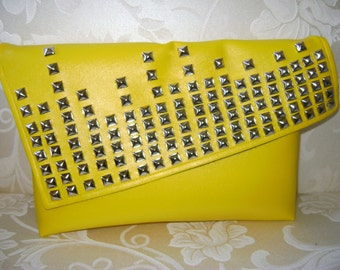 Blinged Out Thang Yellow Studded Oversized Clutch