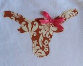 Longhorn appliqué on 3 month or 6 month white short sleeved onesie