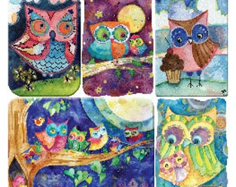 Brand New Release Lauren Alexander Owl Stickers from Violette Stickers