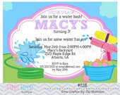 Water Fight Fun Girl:128 - PRINTABLE INVITATION
