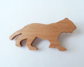panther  brooch wood