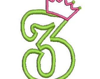 Crown Applique, Applique Number, Applique Embroidery (525) Instant Download