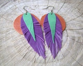 Leather Fringe Earrings - purple