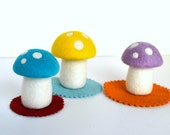Needle Felted Set of 3 Mushrooms-Natural Toy