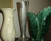 VINTAGE VASE COLLECTION, 3 Various Vases, One Green Glazed Ceramic, One White Glazed Ceramic and one Silver Looking Aluminum Metal
