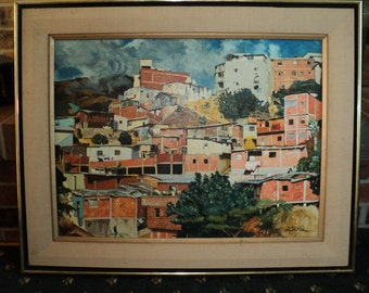 Original Folk Art Style  Landscape Scene, An  Oil Painting on Canvas, Signed and Dated art work of  A Village on the side of a Mountain