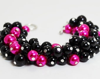 Black and Hot Pink bracelet, fucsia cluster bracelet, chunky bracelet, bridal jewelry, chunky bracelet, wedding jewelry, beaded bracelet