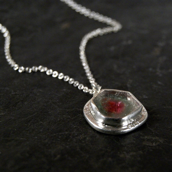 Watermelon Tourmaline Slice Necklace in Sterling Silver