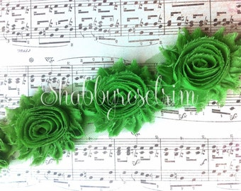 1 Yard Emerald Green Chiffon Flower Shabby Rose Trim