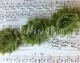 1/2 Yard Avocado Chiffon Flower Shabby Rose Trim