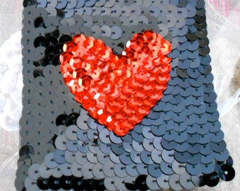 Black and Red Sequined Heart Appliques
