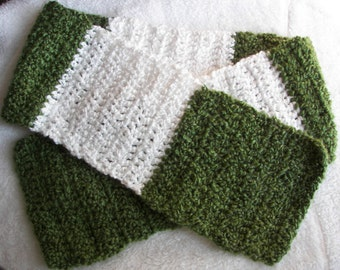 Warm Green and White Scarf, Long, Soft, and Wide Scarf, Olive Green and White Scarf