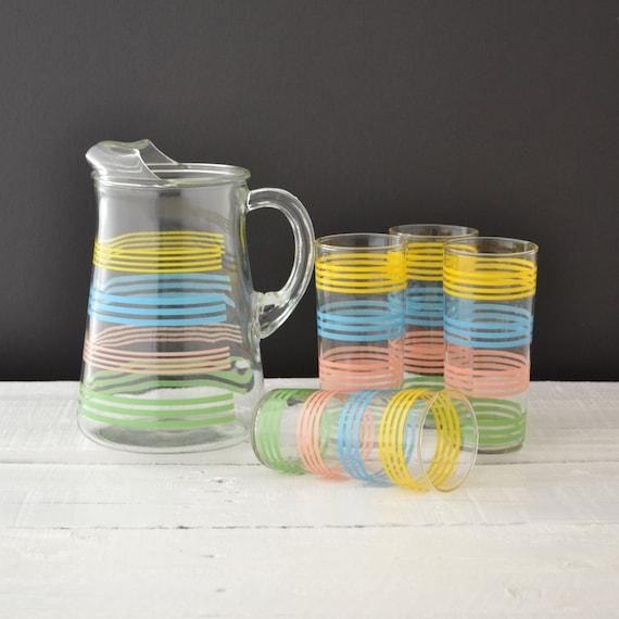 Vintage Drinkware Set Pastel Stripe Bands Vintage By Kolorize