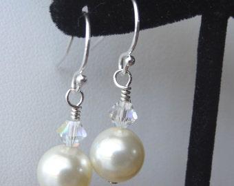 Swarovski Crystal Pearl Earrings, Bridesmaids Git Set Earrings, Bridesmaids Earrings, Wedding Bride Bridal Earrings