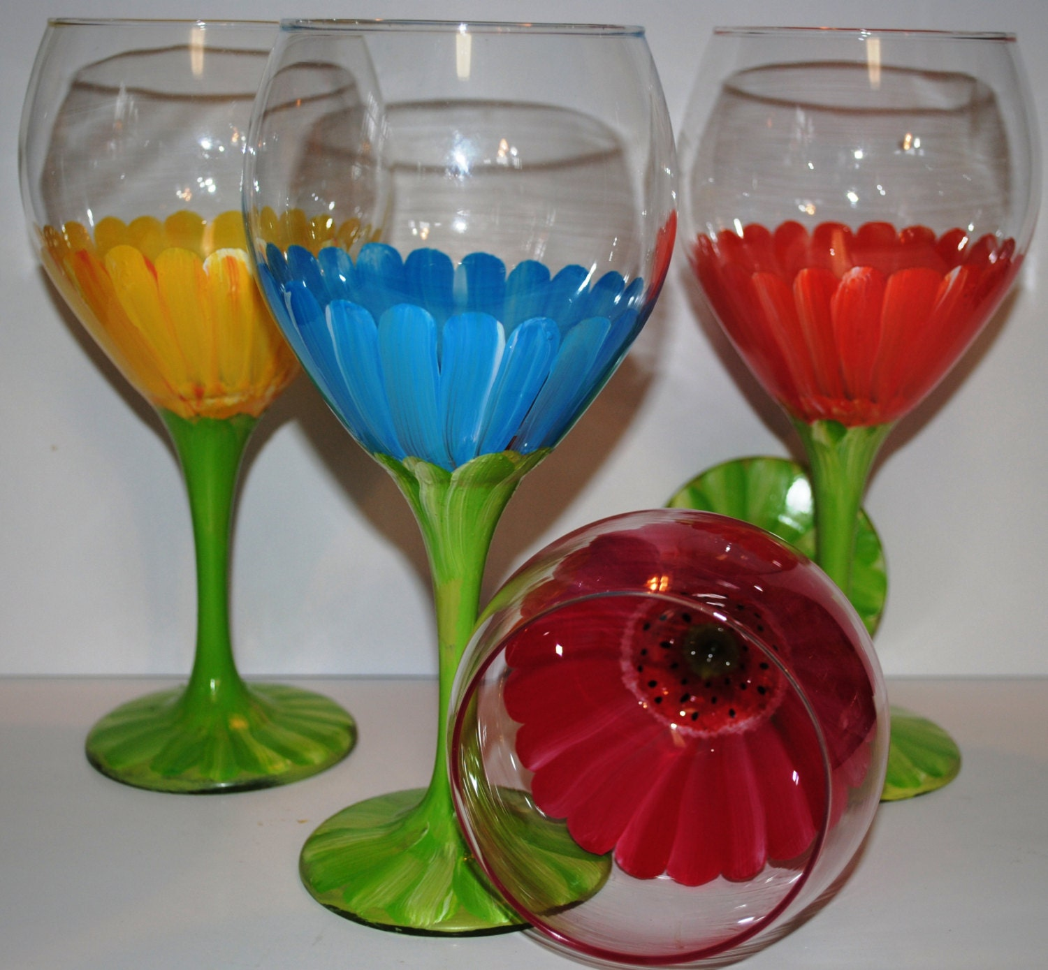 Wedding Gift Glass Painting : Hand Painted Bridal Party Wedding Wine Glasses by TheToastHostess