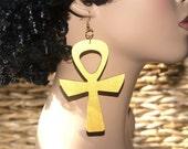Large Wood Ankh Earrings- Gold