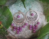 Purple Magnesite Beaded Gypsy Bohemian Chandelier Earrings