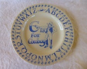 Cowboy Baby Plate Blue Alaphabet Bowl Dish A B Cs Country Western Toddler Dinner Plate Made in England Emma Bridgewater Collectable Like New