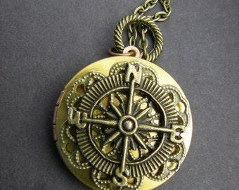 True North Vintage Compass Locket Brass Bronze Wedding Gift Bridesmaids Bride