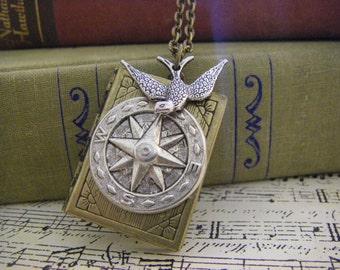 The Traveler Locket Necklace Compass sparrow graduation gift bon voyage  journal theme