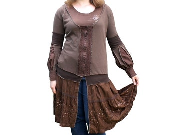 Upcycled cotton over shirt, hoodie, boho, earth tones, brown with sequin patterns