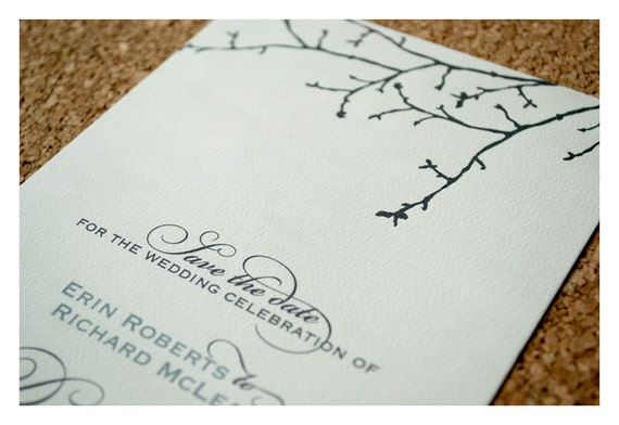 Winter Wedding Save the Date Tree Silhouette