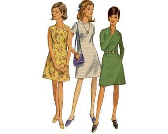 Vintage 1960s Simplicity 7510 mod A-line mini dress, sleeveless shift, bust 34 35 36, Junior petite teen tween, round neck, sewing pattern