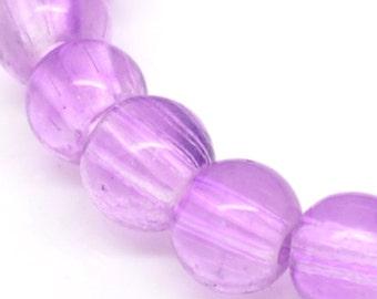 SALE 220 Purple Beads Glass Round 4mm - 1 Strand -  Ships IMMEDIATELY  from California - B638