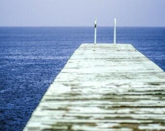Blue and White Wall Decor, Nature Photography, Lake Home Decor, Ocean Photo, Indigo Wall Art, Rain Photo, Summer Picture