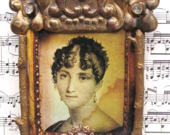 Assemblage Art Antique Portrait Shabby White Home Decor Nordic Altered Repurposed Jewelry Art Jane Austen Lady Portrait Asemblage OOAK