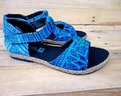 T Strap Vegan Womens Sandal Ethnic Hmong Embroidery Brilliant Blue