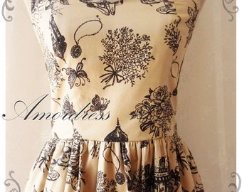 USD20 SALE- Summer Dress Vintage Inspired Fairy Tale Dress Cottage City Gold Beige Dress Beige Alice in Wonderland Tea Party Dress- XS-S