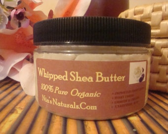 100% Unrefined RAW Hand Whipped African White/Ivory Shea Butter  FRESH 4 oz Jar