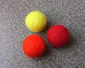 Felted magnets in yellow, orange and red gift under 10