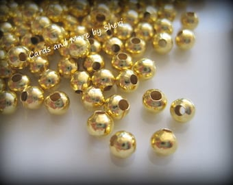 100 Gold Plated 4mm Spacer Beads