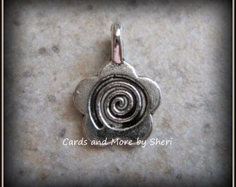 Antique Silver Flower Shape Glue On Bail (20)