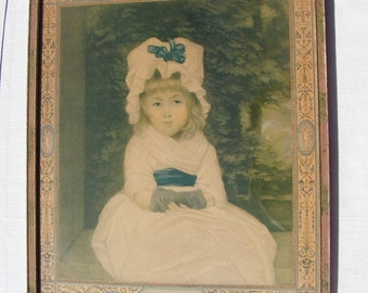 30s 40s Penelope Boothby Print After The Painting by Sir Joshua Reynolds Wood Sponged Frame Cherub Border
